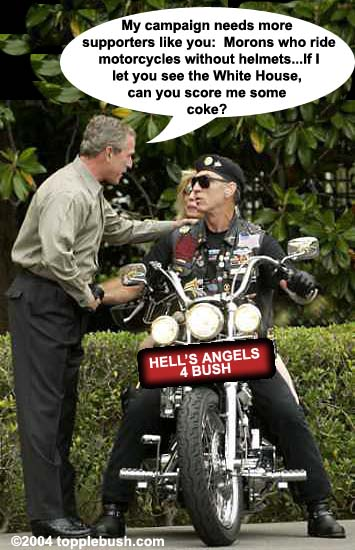 Bush visiting with bikers