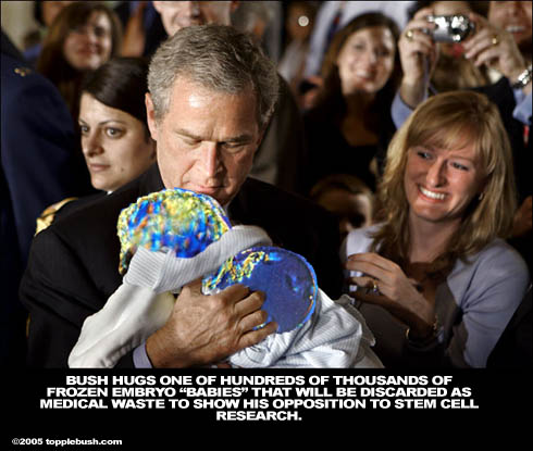 Bush holding embryo baby