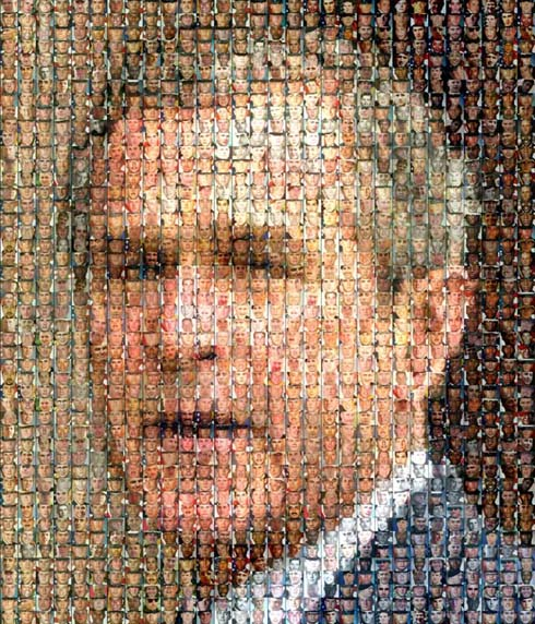 Bush head made from dead soldier photos