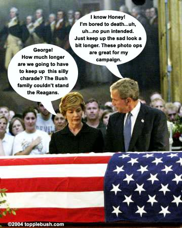 Laura Bush and George at Reagan's casket