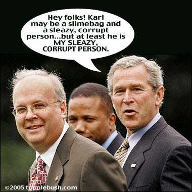 Bush expressing his feelings about Rove