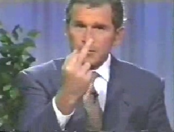 Bush giving finger