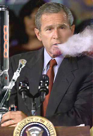 Bush smoking dope