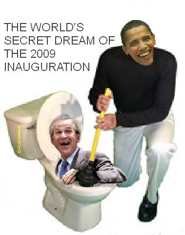 Plunging Bush at Obama's inauguration