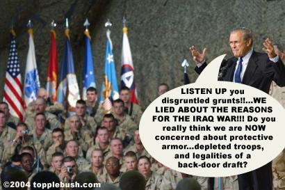 Rumsfeld taking to troops in Kuwait